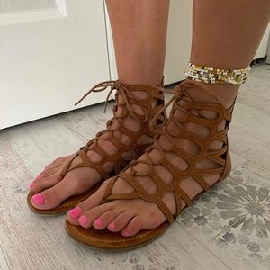 Rampage Tan Azteca Styled Sandals